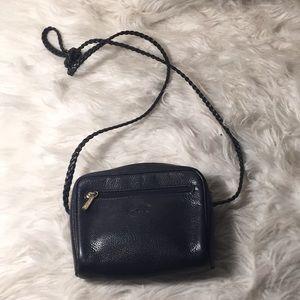 Black leather longchamp small purse braided strap